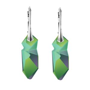 Zelene viseće naušnice na kopči boje srebra Zelene naušnice