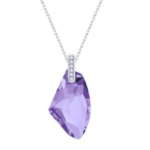 Lančić u boji srebra s asimetričnim kristalom u bijeloj boji Dar za dragu osobu