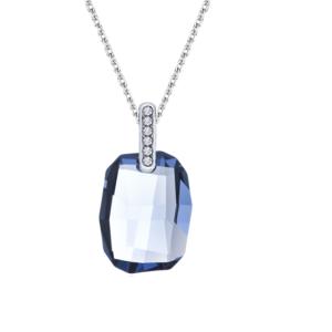 Lančić u boji srebra s četvrtastim kristalom plave boje Idealan dar za mirovinu