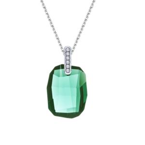 Lančić u boji srebra s četvrtastim kristalom zelene boje Dar za ženu