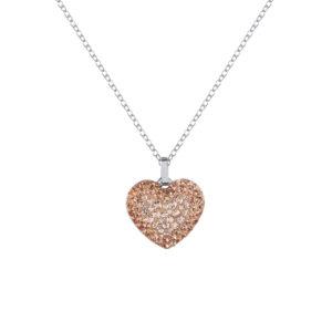 Lančić u srebrnoj boji s kristalnim privjeskom u obliku srca u bež boji Poklon sestri