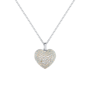 Lančić u srebrnoj boji s kristalnim privjeskom u obliku srca u bijeloj boji Lančić za ženu