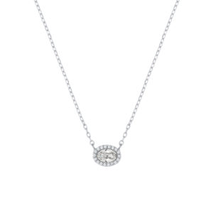 Lančić s malim ovalnim kristalnim privjeskom u bijeloj boji Dar za blisku osobu