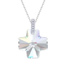 Lančić u srebrnoj boji s kristalnim privjeskom u obliku križa Poklon za sakrament