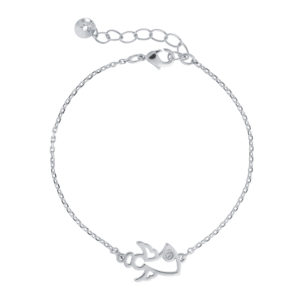 Narukvica u boji srebra s privjeskom u obliku anđela Poklon za rođenje