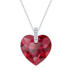 Lančić u boji srebra s kristalnim privjeskom u obliku crvenog srca Dar za suprugu