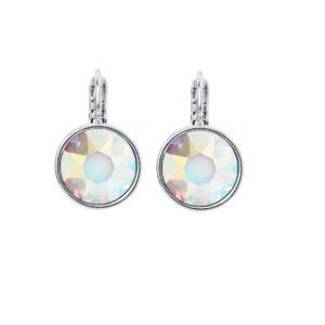 Klasične naušnice na kopči boje srebra s okruglim svijetlim kristalom Klasične naušnice za poklon