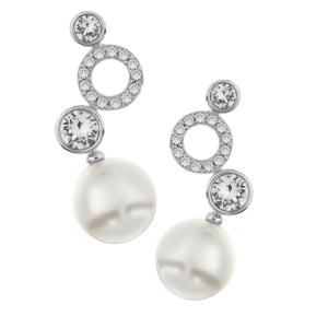 Viseće naušnice s perlom i kristalima Naušnice od perle na sniženju
