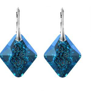 Velike plave naušnice na kopči s kristalom u obliku romba Velike naušnice