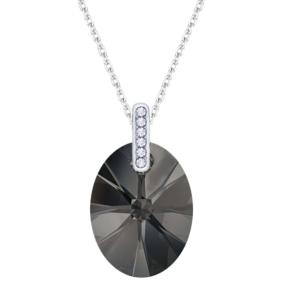 Lančić u srebrnoj boji s ovalnim kristalnim privjeskom u tamnoj boji Dar za godišnjicu