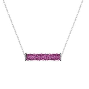 Lančić u srebrnoj boji s kristalnim privjeskom u boji fuksijeDar za sestru