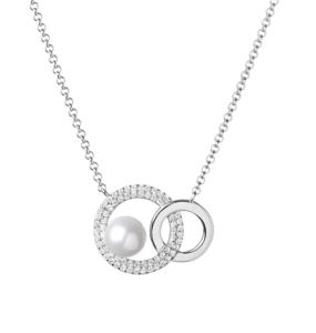 Lančić u boji srebra s privjeskom kojeg čine dva povezana kristalna kruga i perla Dar mami