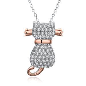 Lančić u srebrnoj boji s kristalnim privjeskom u obliku mačke Poklon za djevojčicu