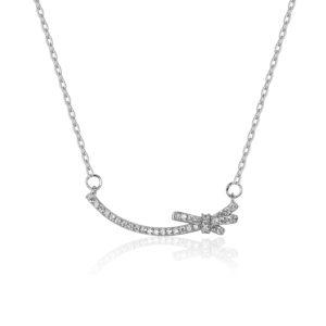 Lančić u srebrnoj boji s kristalnim privjeskom u obliku mašne Poklon za promociju