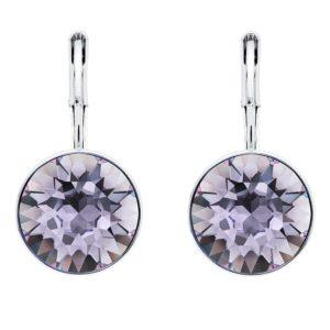 Viseće naušnice u boji srebra s kristalom u boji lavande Elegantne naušnice