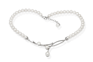 Ogrlica s nanizanim perlama s naglaskom na središnjem dijelu. Ogrlica s perlama