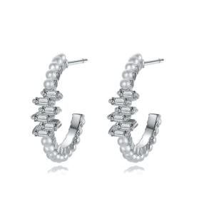 Naušnice ringovi u boji srebra s kristalima i peralama Okrugle viseće naušnice